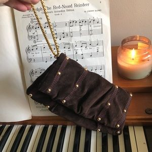 Handbags - Brown clutch with gold accents